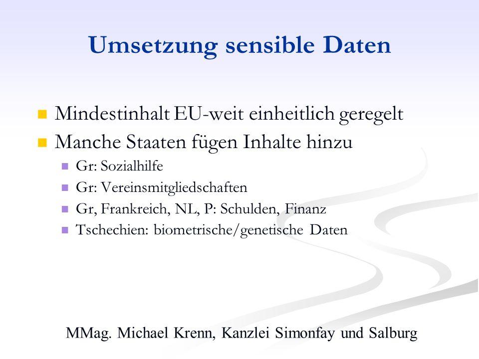 MMag. Michael Krenn, Kanzlei Simonfay und Salburg Umsetzung sensible Daten Mindestinhalt EU-weit einheitlich geregelt Manche Staaten fügen Inhalte hin