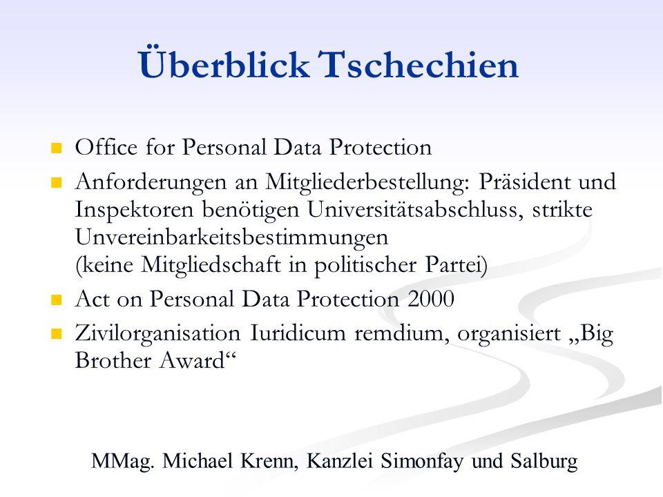 MMag. Michael Krenn, Kanzlei Simonfay und Salburg Überblick Tschechien Office for Personal Data Protection Anforderungen an Mitgliederbestellung: Präs