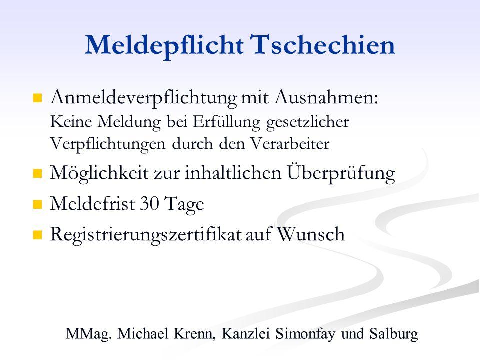 MMag. Michael Krenn, Kanzlei Simonfay und Salburg Meldepflicht Tschechien Anmeldeverpflichtung mit Ausnahmen: Keine Meldung bei Erfüllung gesetzlicher