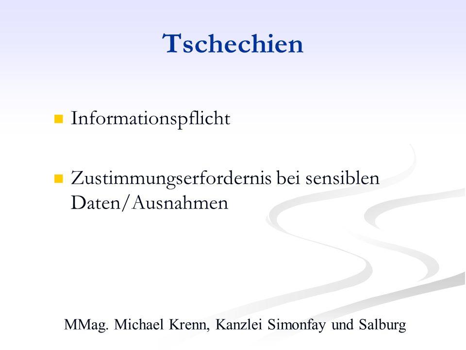 MMag. Michael Krenn, Kanzlei Simonfay und Salburg Tschechien Informationspflicht Zustimmungserfordernis bei sensiblen Daten/Ausnahmen