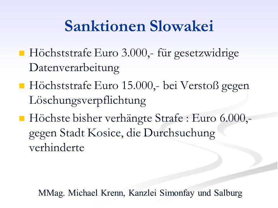 MMag. Michael Krenn, Kanzlei Simonfay und Salburg Sanktionen Slowakei Höchststrafe Euro 3.000,- für gesetzwidrige Datenverarbeitung Höchststrafe Euro
