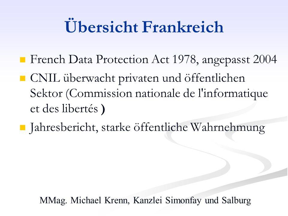MMag. Michael Krenn, Kanzlei Simonfay und Salburg Übersicht Frankreich French Data Protection Act 1978, angepasst 2004 CNIL überwacht privaten und öff