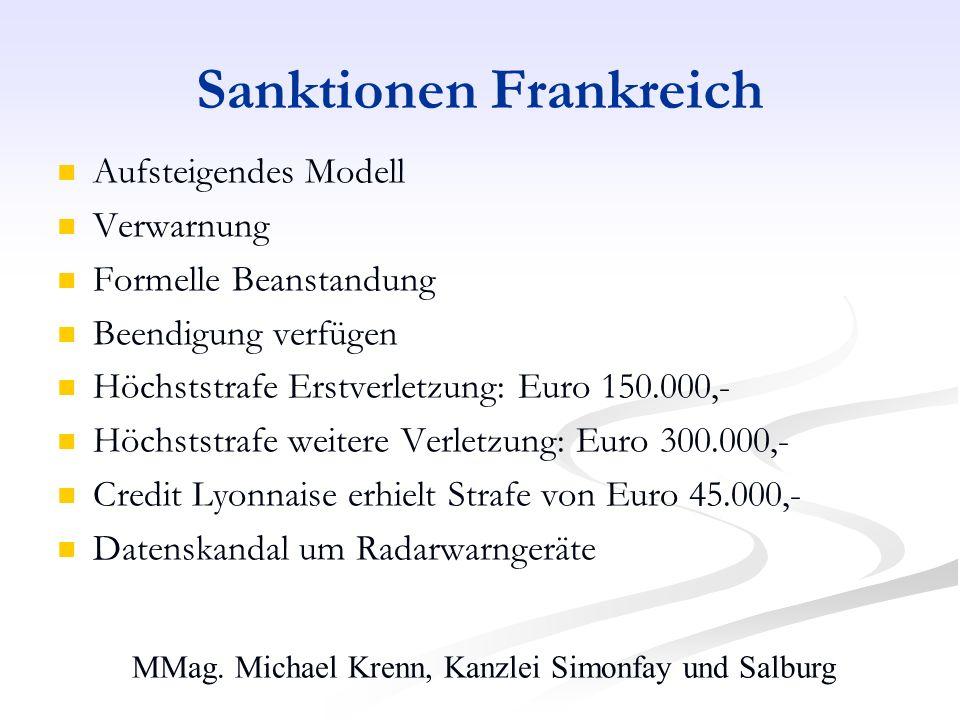 MMag. Michael Krenn, Kanzlei Simonfay und Salburg Sanktionen Frankreich Aufsteigendes Modell Verwarnung Formelle Beanstandung Beendigung verfügen Höch