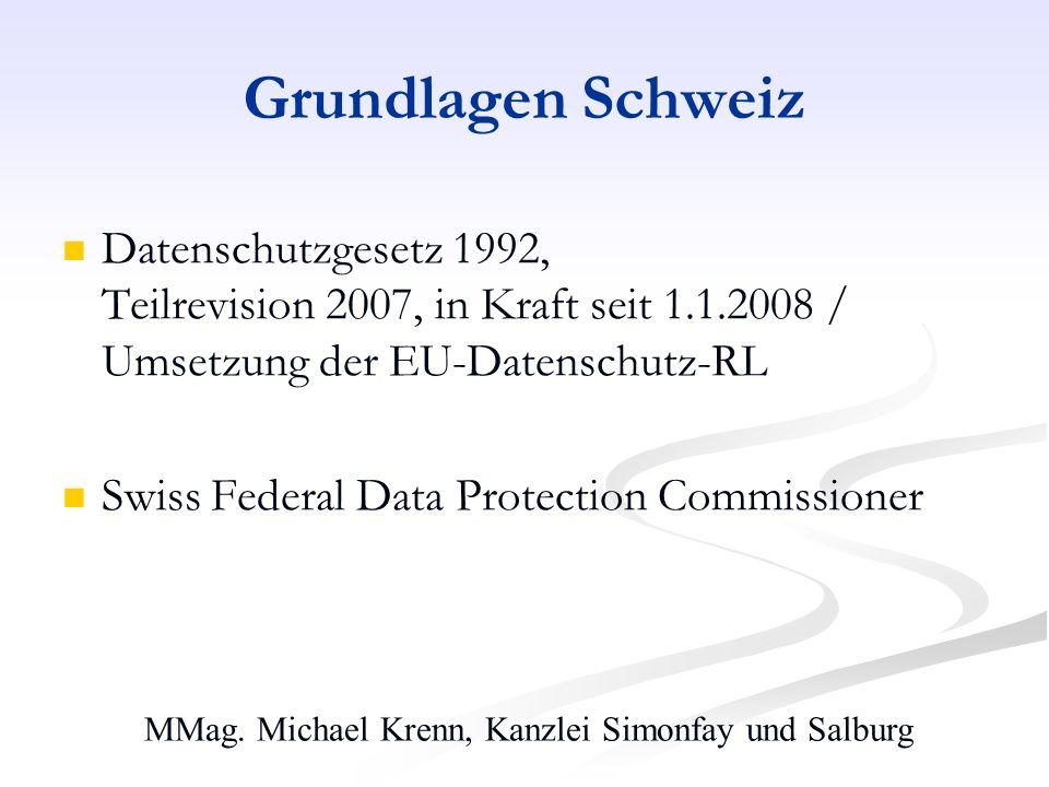 MMag. Michael Krenn, Kanzlei Simonfay und Salburg Grundlagen Schweiz Datenschutzgesetz 1992, Teilrevision 2007, in Kraft seit 1.1.2008 / Umsetzung der