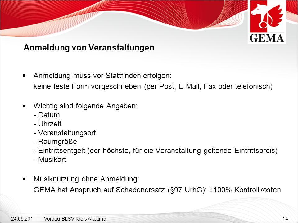24.05.201 2 Vortrag BLSV Kreis Altötting14 Anmeldung von Veranstaltungen Anmeldung muss vor Stattfinden erfolgen: keine feste Form vorgeschrieben (per