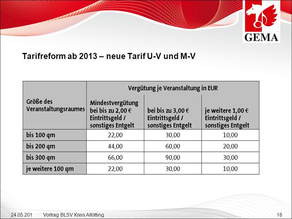 24.05.201 2 Vortrag BLSV Kreis Altötting18 Tarifreform ab 2013 – neue Tarif U-V und M-V