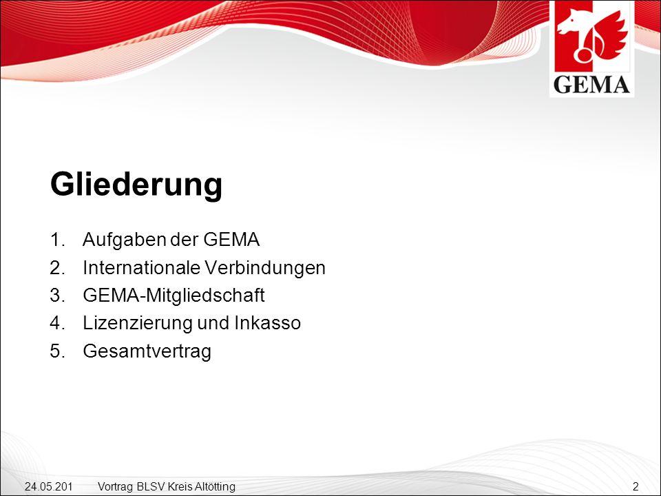 24.05.201 2 Vortrag BLSV Kreis Altötting2 Gliederung Aufgaben der GEMA Internationale Verbindungen GEMA-Mitgliedschaft Lizenzierung und Inkasso Gesamtvertrag