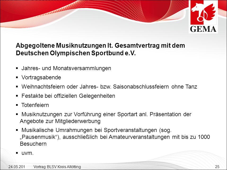 24.05.201 2 Vortrag BLSV Kreis Altötting25 Abgegoltene Musiknutzungen lt. Gesamtvertrag mit dem Deutschen Olympischen Sportbund e.V. Jahres- und Monat