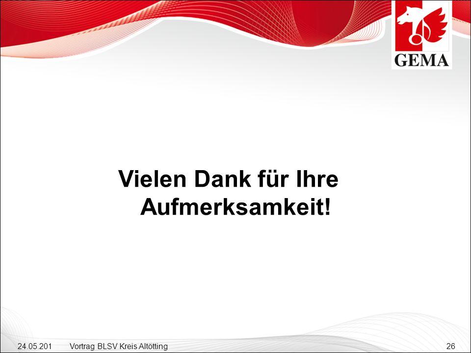 24.05.201 2 Vortrag BLSV Kreis Altötting26 Vielen Dank für Ihre Aufmerksamkeit!