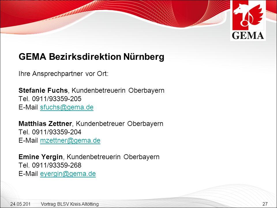 24.05.201 2 Vortrag BLSV Kreis Altötting27 GEMA Bezirksdirektion Nürnberg Ihre Ansprechpartner vor Ort: Stefanie Fuchs, Kundenbetreuerin Oberbayern Tel.
