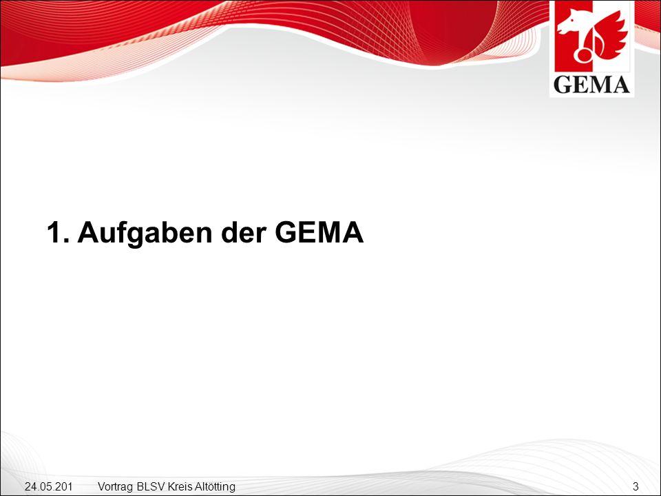 24.05.201 2 Vortrag BLSV Kreis Altötting3 1. Aufgaben der GEMA
