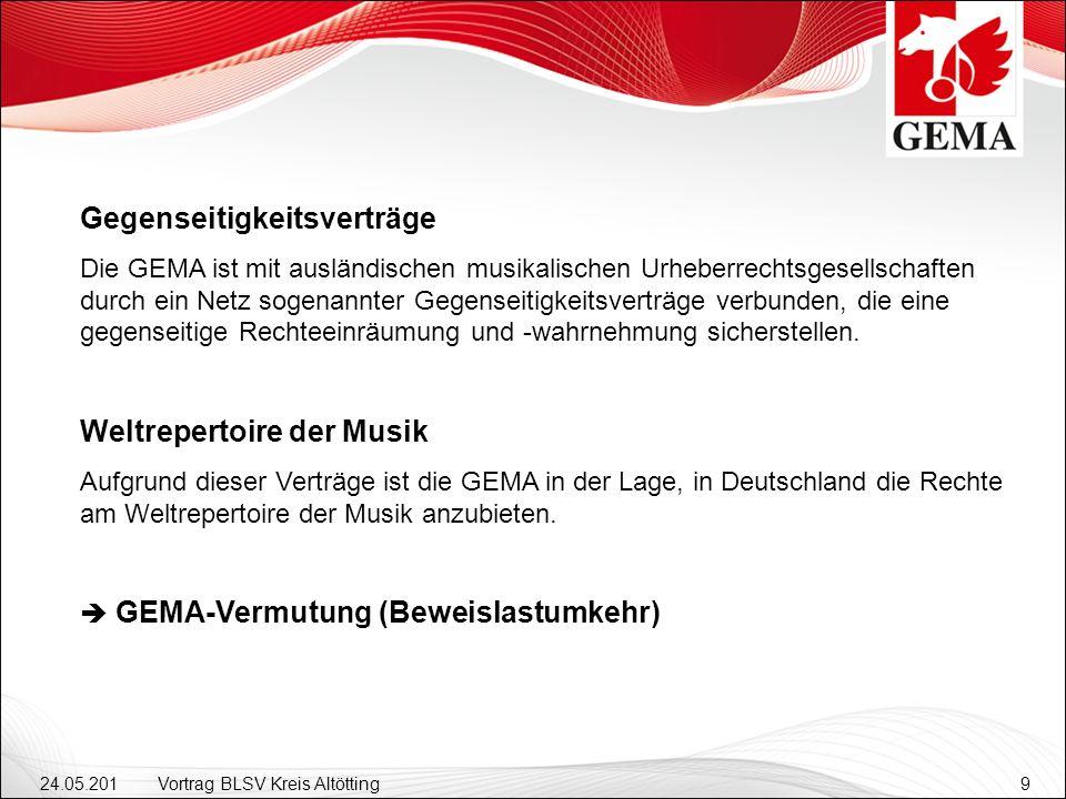 24.05.201 2 Vortrag BLSV Kreis Altötting9 Gegenseitigkeitsverträge Die GEMA ist mit ausländischen musikalischen Urheberrechtsgesellschaften durch ein Netz sogenannter Gegenseitigkeitsverträge verbunden, die eine gegenseitige Rechteeinräumung und -wahrnehmung sicherstellen.