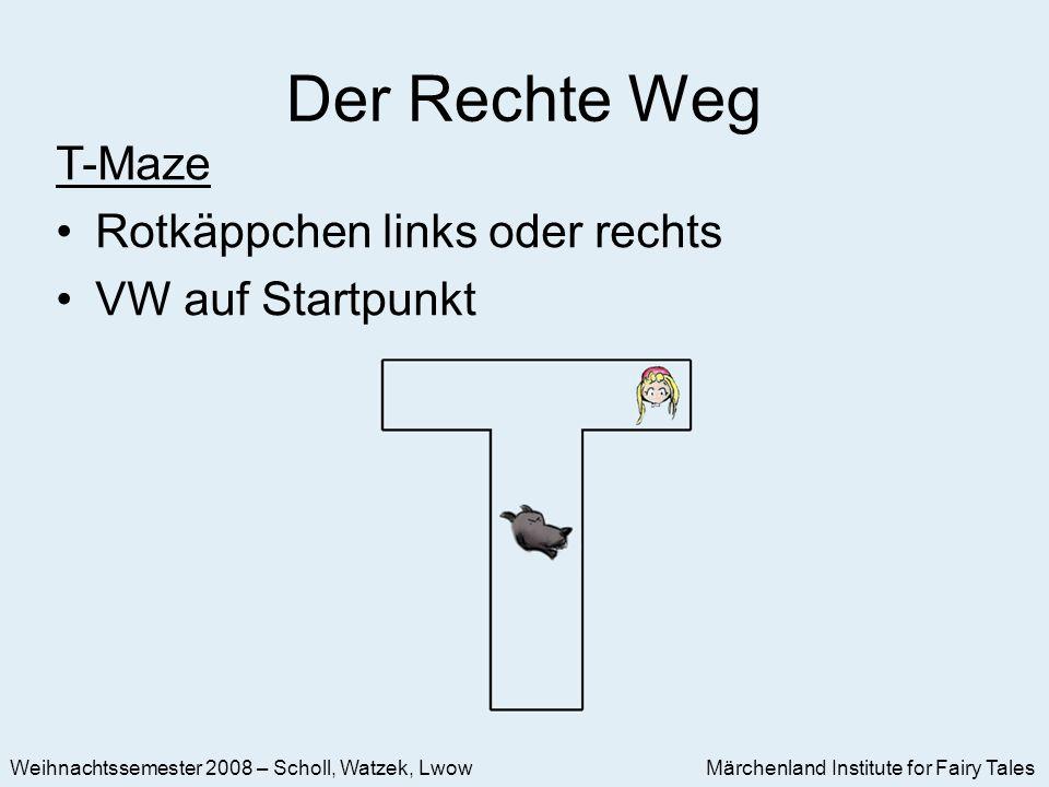 Märchenland Institute for Fairy Tales Weihnachtssemester 2008 – Scholl, Watzek, Lwow Der Rechte Weg T-Maze Rotkäppchen links oder rechts VW auf Startpunkt