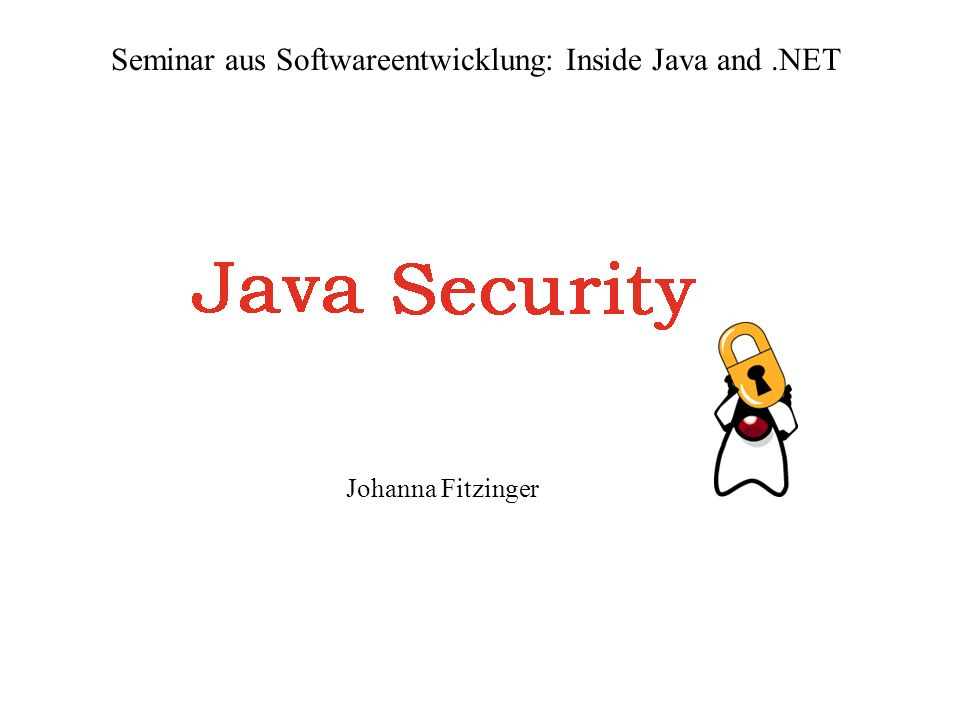Johanna Fitzinger Seminar aus Softwareentwicklung: Inside Java and.NET