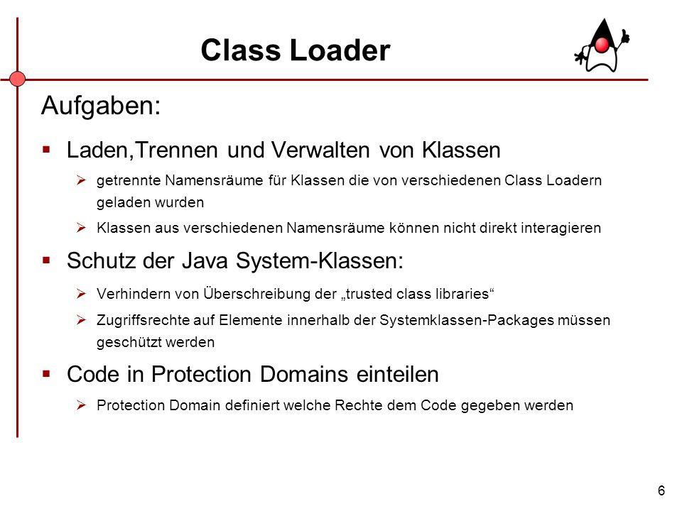 6 Class Loader Aufgaben: Laden,Trennen und Verwalten von Klassen getrennte Namensräume für Klassen die von verschiedenen Class Loadern geladen wurden