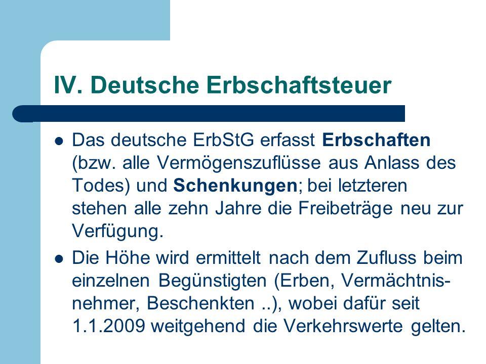 IV. Deutsche Erbschaftsteuer Das deutsche ErbStG erfasst Erbschaften (bzw. alle Vermögenszuflüsse aus Anlass des Todes) und Schenkungen; bei letzteren