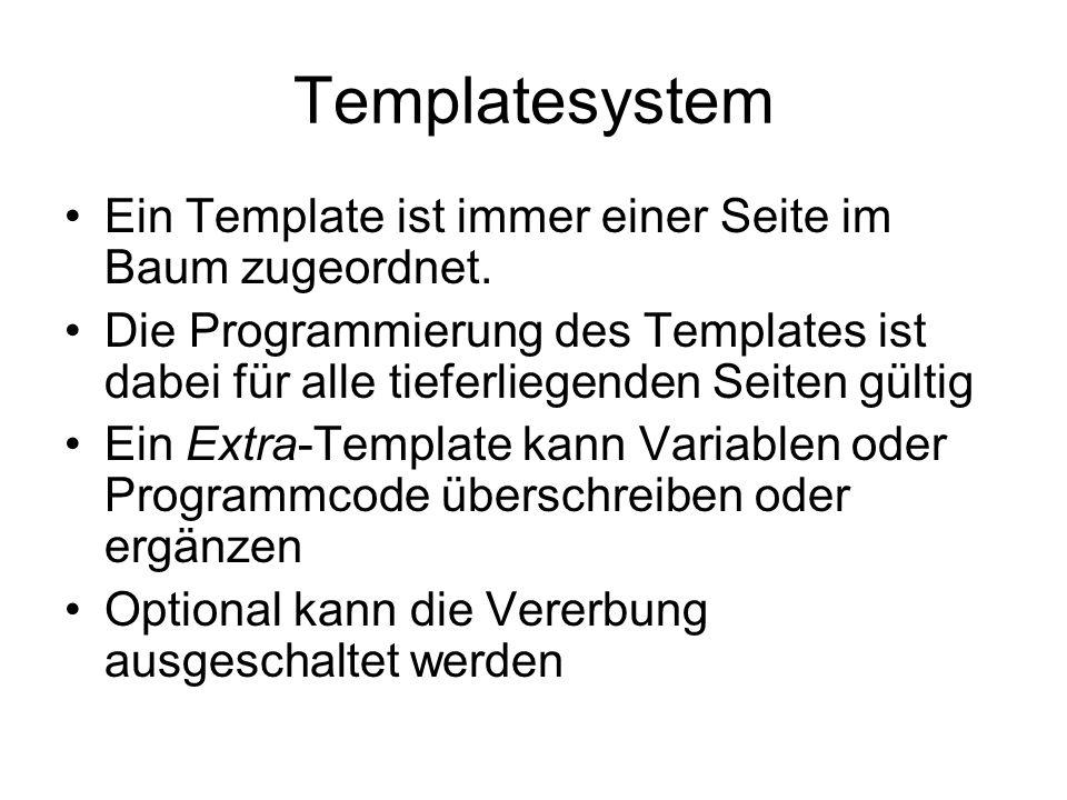 Templatesystem Ein Template ist immer einer Seite im Baum zugeordnet.