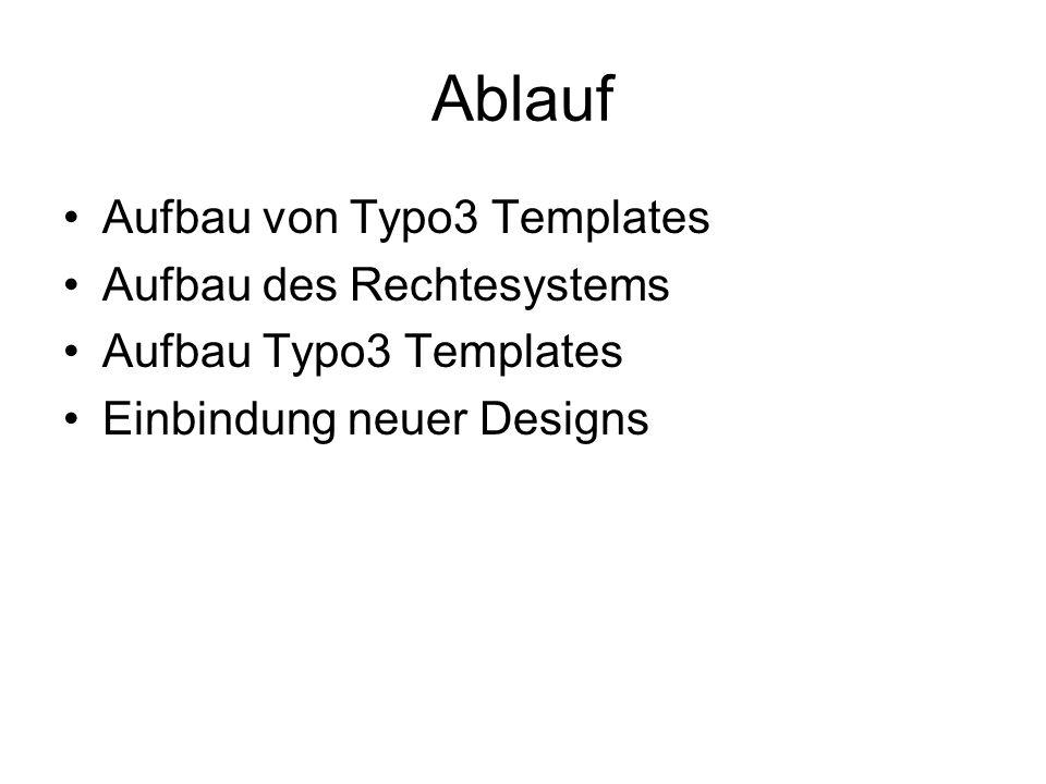 Ablauf Aufbau von Typo3 Templates Aufbau des Rechtesystems Aufbau Typo3 Templates Einbindung neuer Designs