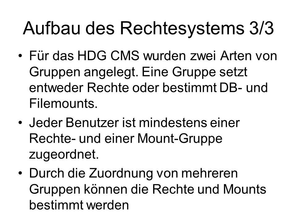 Aufbau des Rechtesystems 3/3 Für das HDG CMS wurden zwei Arten von Gruppen angelegt.