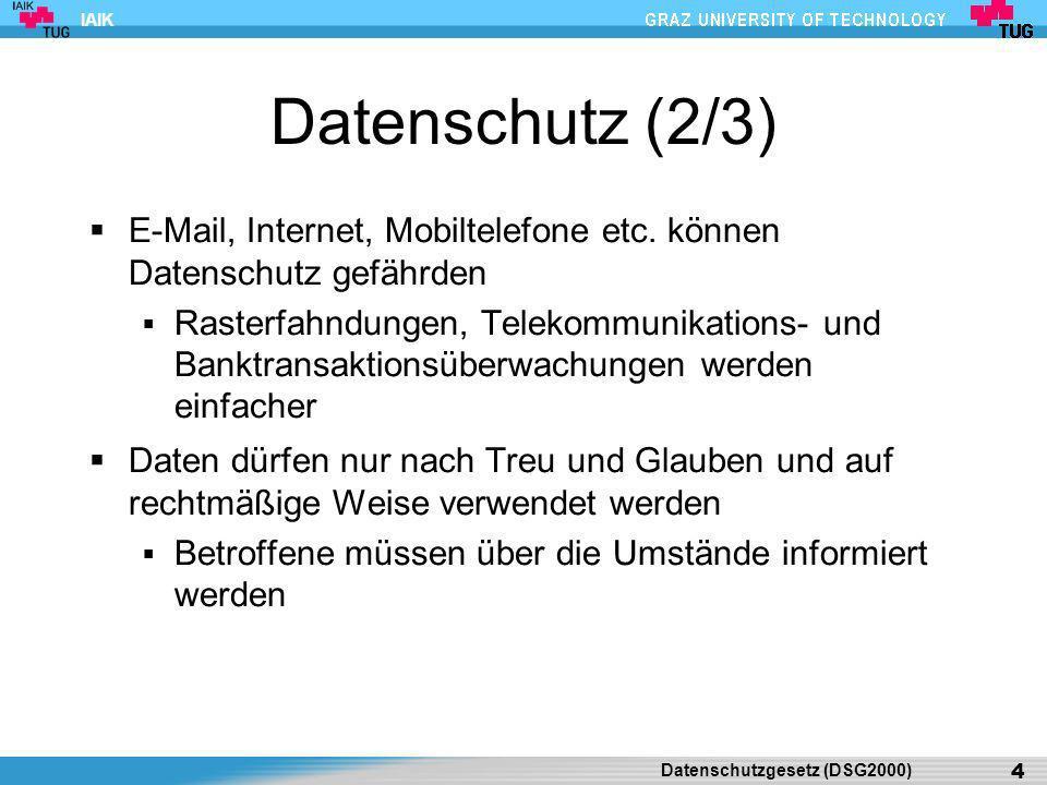 IAIK Datenschutz (3/3) Datenschutzgesetz 1978 (DSG) bildete erstes Grundrecht auf Datenschutz Wurde am 1.1.1980 eingeführt Umfang und Schutzbereich des DSR wurde nicht klar herausgearbeitet Datenschutzgesetz 2000 (DSG 2000) Umsetzung einer EU-Richtlinie Wurde am 1.1.2000 wirksam Ziel: Harmonisierung des Datenschutzes innerhalb der EU Umfassende Änderungen - Neufassung Datenschutzgesetz (DSG2000) 5
