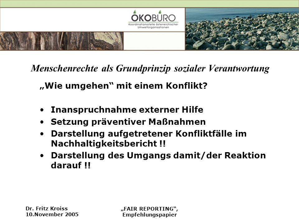 Dr. Fritz Kroiss 10.November 2005 FAIR REPORTING, Empfehlungspapier Menschenrechte als Grundprinzip sozialer Verantwortung Wie umgehen mit einem Konfl