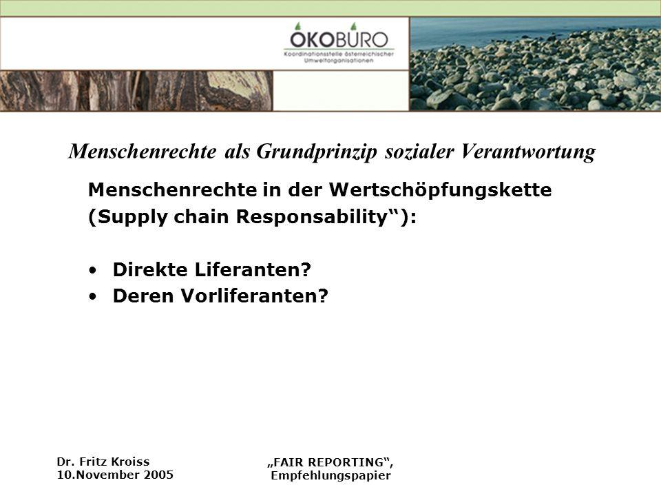 Dr. Fritz Kroiss 10.November 2005 FAIR REPORTING, Empfehlungspapier Menschenrechte als Grundprinzip sozialer Verantwortung Menschenrechte in der Werts