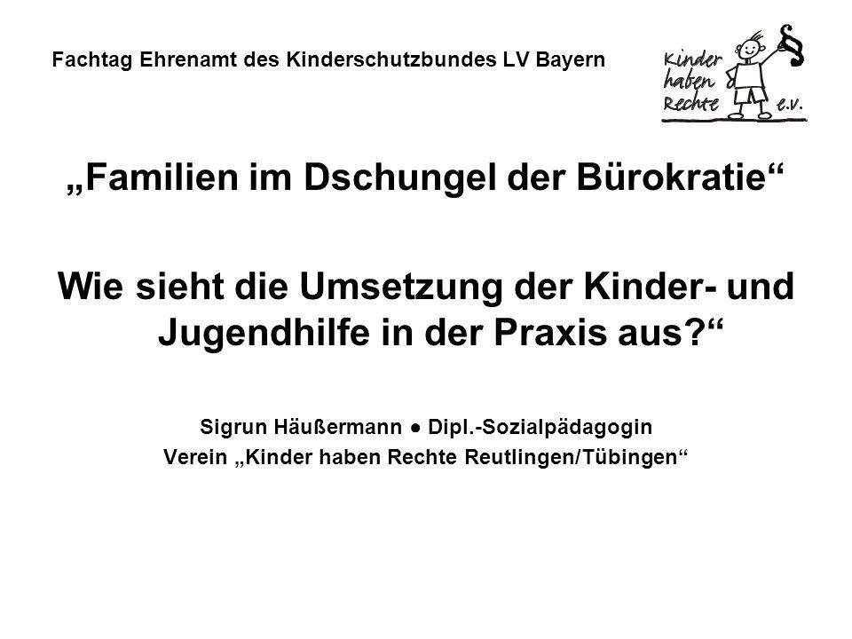Fachtag Ehrenamt des Kinderschutzbundes LV Bayern Familien im Dschungel der Bürokratie Wie sieht die Umsetzung der Kinder- und Jugendhilfe in der Prax