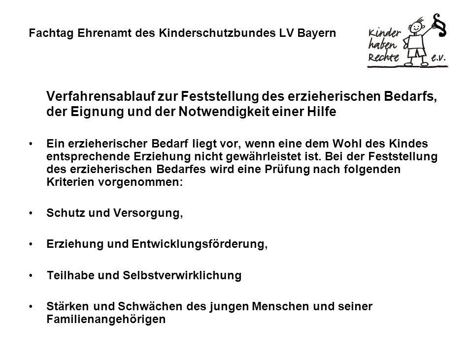Fachtag Ehrenamt des Kinderschutzbundes LV Bayern Verfahrensablauf zur Feststellung des erzieherischen Bedarfs, der Eignung und der Notwendigkeit eine