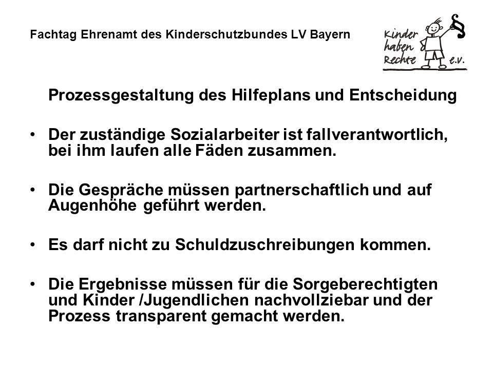 Fachtag Ehrenamt des Kinderschutzbundes LV Bayern Prozessgestaltung des Hilfeplans und Entscheidung Der zuständige Sozialarbeiter ist fallverantwortlich, bei ihm laufen alle Fäden zusammen.