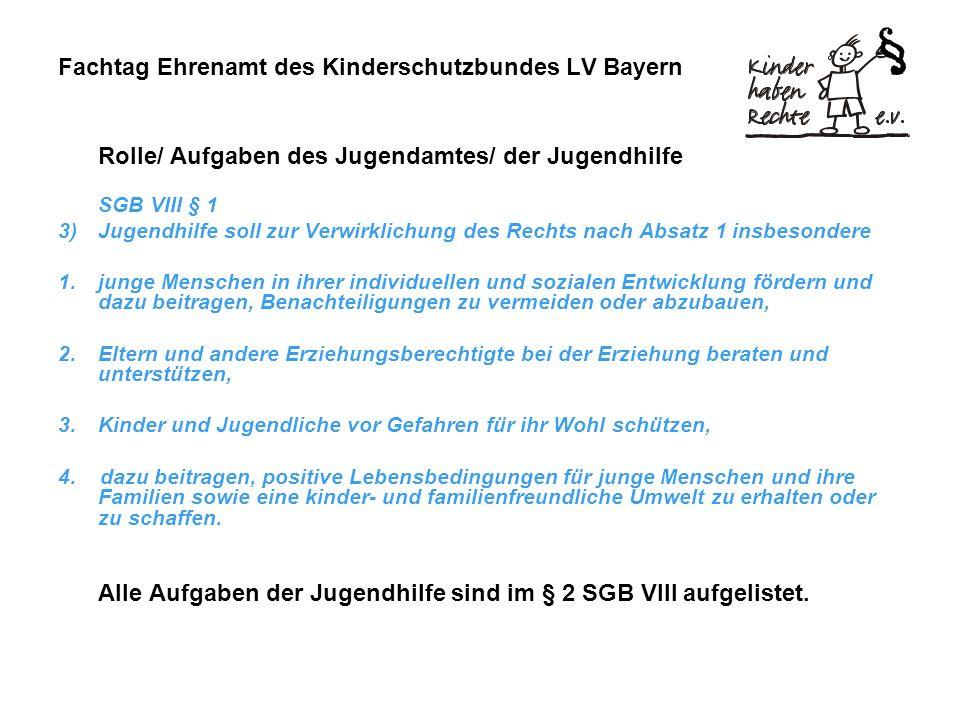 Fachtag Ehrenamt des Kinderschutzbundes LV Bayern Rolle/ Aufgaben des Jugendamtes/ der Jugendhilfe SGB VIII § 1 3)Jugendhilfe soll zur Verwirklichung