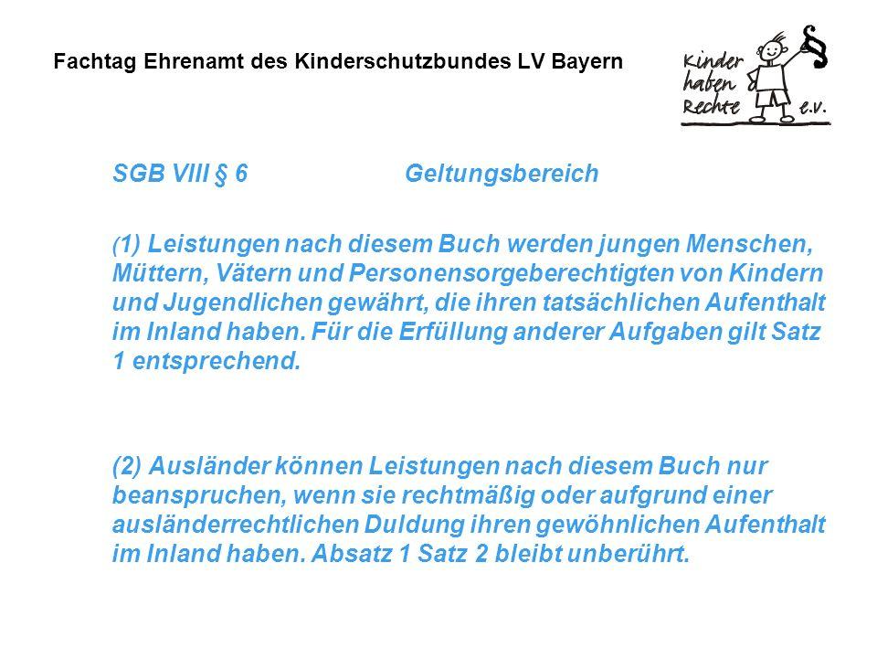 Fachtag Ehrenamt des Kinderschutzbundes LV Bayern SGB VIII § 6Geltungsbereich ( 1) Leistungen nach diesem Buch werden jungen Menschen, Müttern, Vätern