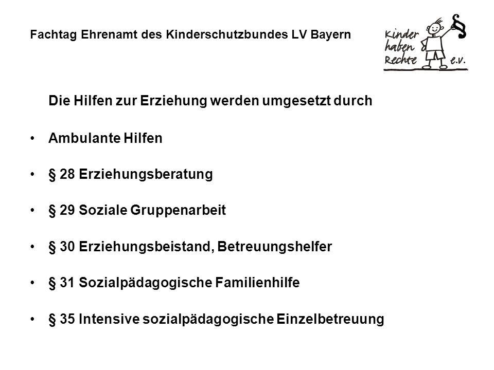 Fachtag Ehrenamt des Kinderschutzbundes LV Bayern Die Hilfen zur Erziehung werden umgesetzt durch Ambulante Hilfen § 28 Erziehungsberatung § 29 Sozial