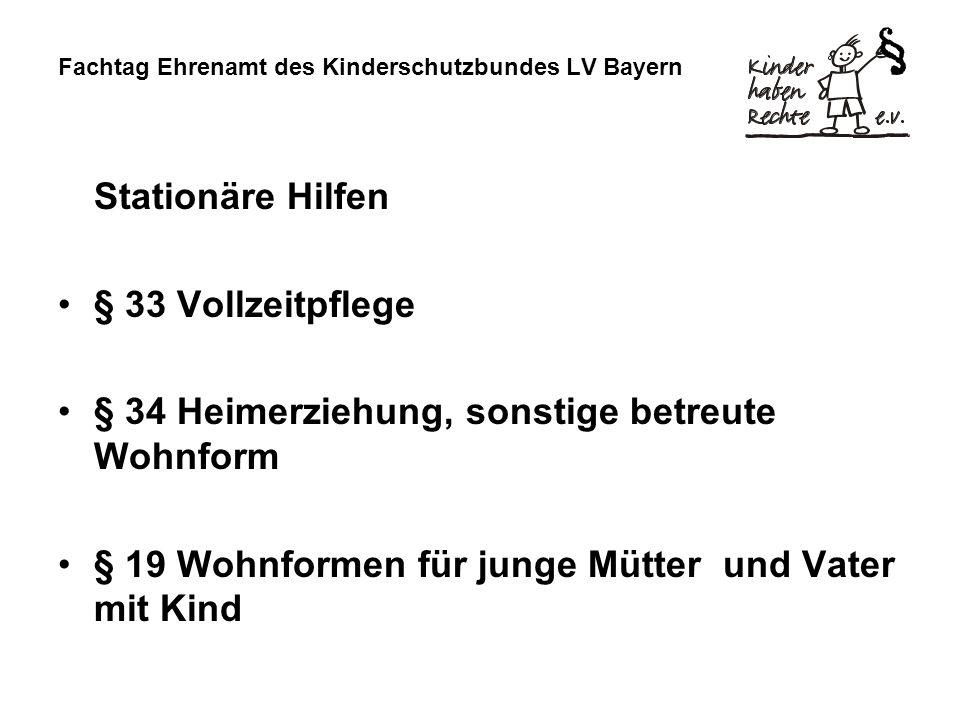 Fachtag Ehrenamt des Kinderschutzbundes LV Bayern Stationäre Hilfen § 33 Vollzeitpflege § 34 Heimerziehung, sonstige betreute Wohnform § 19 Wohnformen