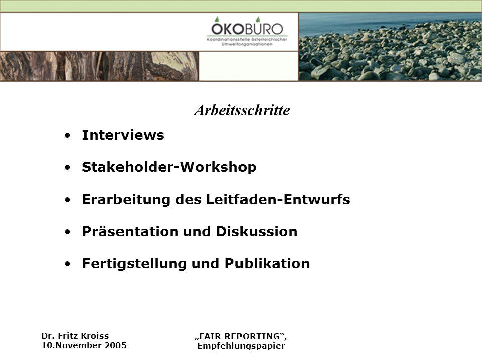 Dr. Fritz Kroiss 10.November 2005 FAIR REPORTING, Empfehlungspapier Arbeitsschritte Interviews Stakeholder-Workshop Erarbeitung des Leitfaden-Entwurfs