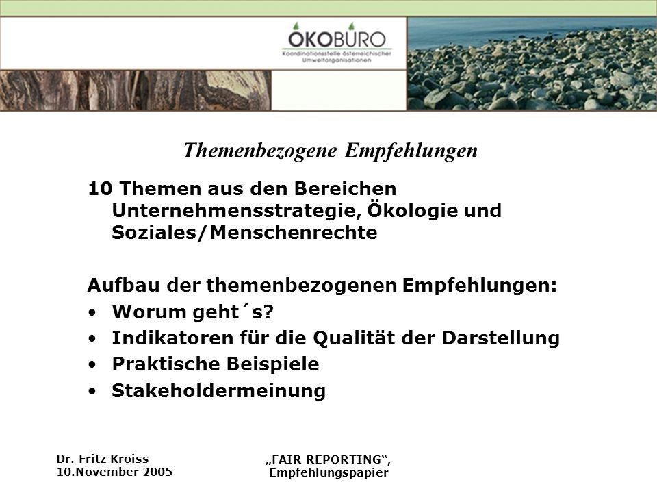 Dr. Fritz Kroiss 10.November 2005 FAIR REPORTING, Empfehlungspapier Themenbezogene Empfehlungen 10 Themen aus den Bereichen Unternehmensstrategie, Öko