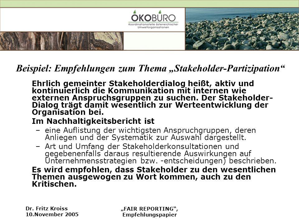 Dr. Fritz Kroiss 10.November 2005 FAIR REPORTING, Empfehlungspapier Beispiel: Empfehlungen zum Thema Stakeholder-Partizipation Ehrlich gemeinter Stake