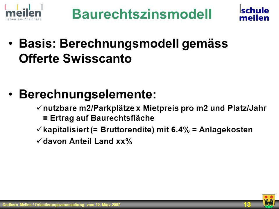 Dorfkern Meilen / Orientierungsveranstaltung vom 12. März 2007 13 Baurechtszinsmodell Basis: Berechnungsmodell gemäss Offerte Swisscanto Berechnungsel