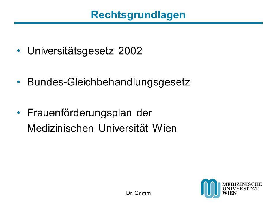 Dr. Grimm Rechtsgrundlagen Universitätsgesetz 2002 Bundes-Gleichbehandlungsgesetz Frauenförderungsplan der Medizinischen Universität Wien