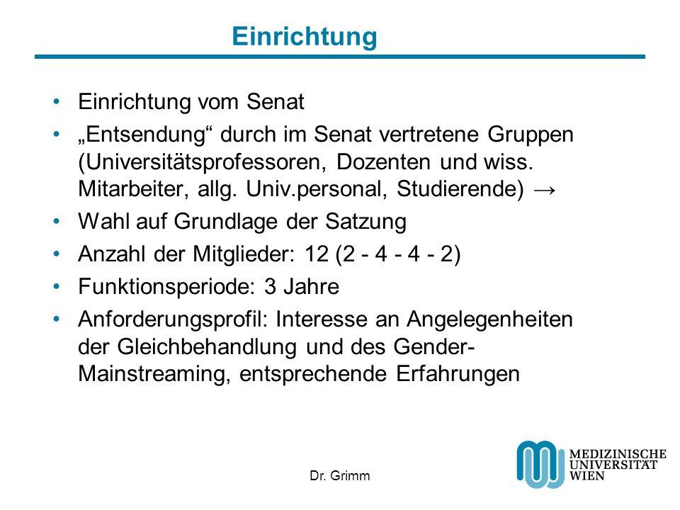 Dr. Grimm Einrichtung Einrichtung vom Senat Entsendung durch im Senat vertretene Gruppen (Universitätsprofessoren, Dozenten und wiss. Mitarbeiter, all