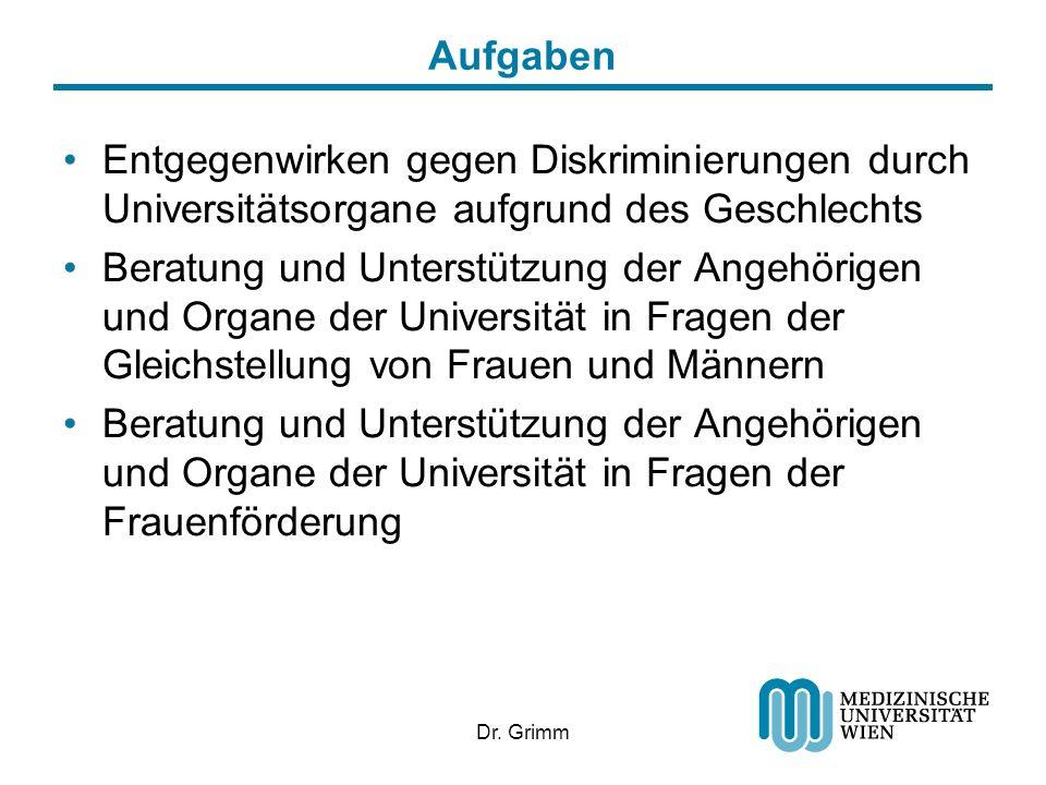 Dr. Grimm Aufgaben Entgegenwirken gegen Diskriminierungen durch Universitätsorgane aufgrund des Geschlechts Beratung und Unterstützung der Angehörigen