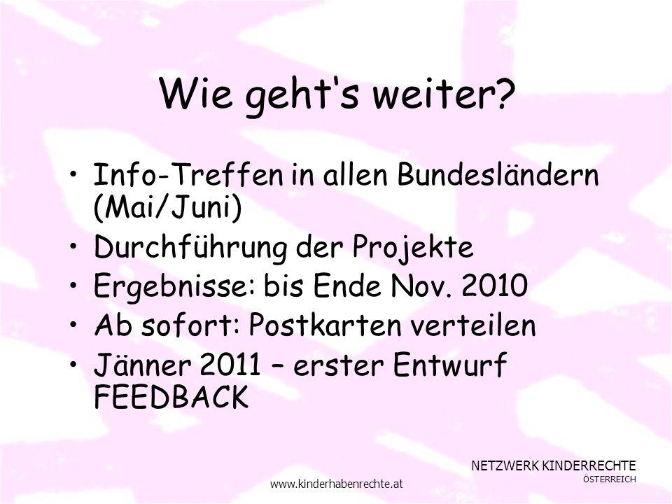 NETZWERK KINDERRECHTE ÖSTERREICH www.kinderhabenrechte.at Wie gehts weiter.