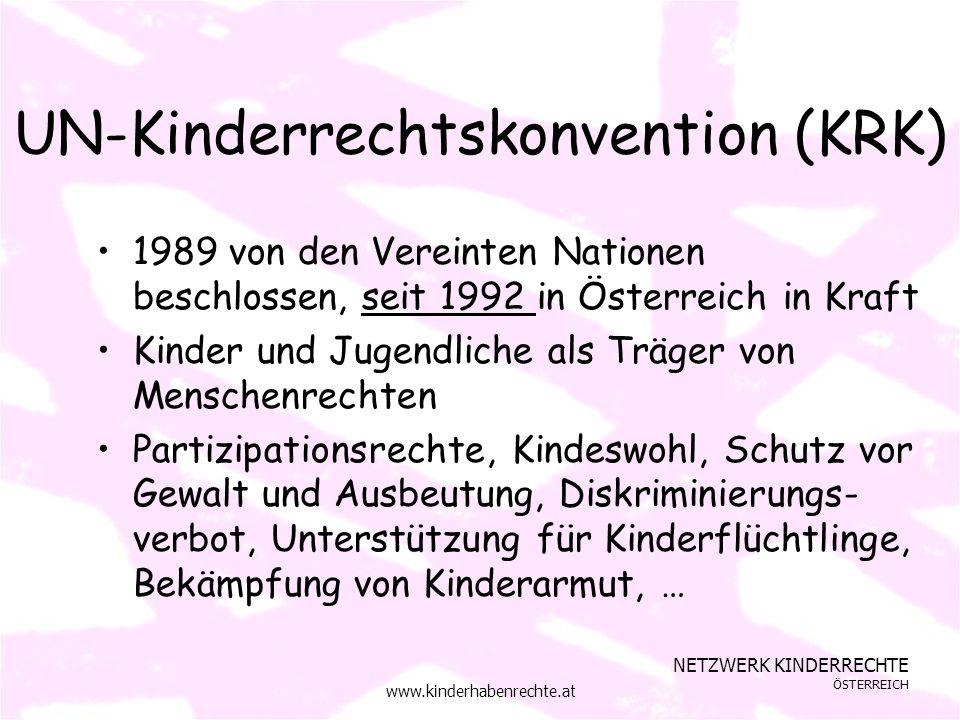 NETZWERK KINDERRECHTE ÖSTERREICH www.kinderhabenrechte.at UN-Kinderrechtskonvention (KRK) 1989 von den Vereinten Nationen beschlossen, seit 1992 in Österreich in Kraft Kinder und Jugendliche als Träger von Menschenrechten Partizipationsrechte, Kindeswohl, Schutz vor Gewalt und Ausbeutung, Diskriminierungs- verbot, Unterstützung für Kinderflüchtlinge, Bekämpfung von Kinderarmut, …