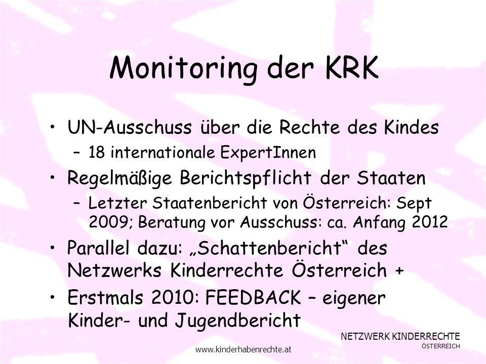 NETZWERK KINDERRECHTE ÖSTERREICH www.kinderhabenrechte.at Monitoring der KRK UN-Ausschuss über die Rechte des Kindes –18 internationale ExpertInnen Regelmäßige Berichtspflicht der Staaten –Letzter Staatenbericht von Österreich: Sept 2009; Beratung vor Ausschuss: ca.