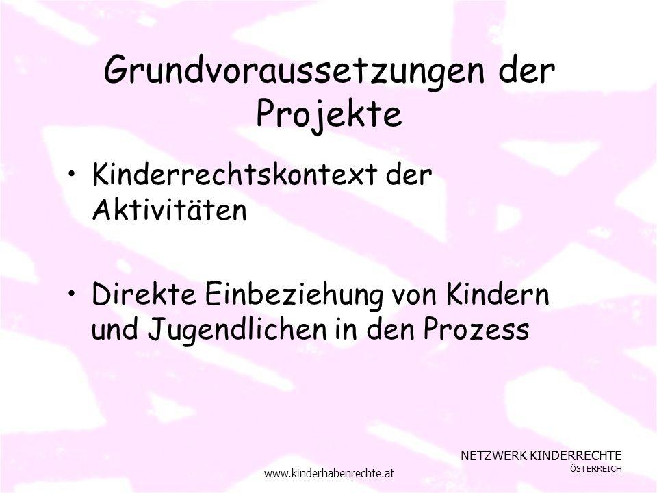 NETZWERK KINDERRECHTE ÖSTERREICH www.kinderhabenrechte.at Grundvoraussetzungen der Projekte Kinderrechtskontext der Aktivitäten Direkte Einbeziehung von Kindern und Jugendlichen in den Prozess