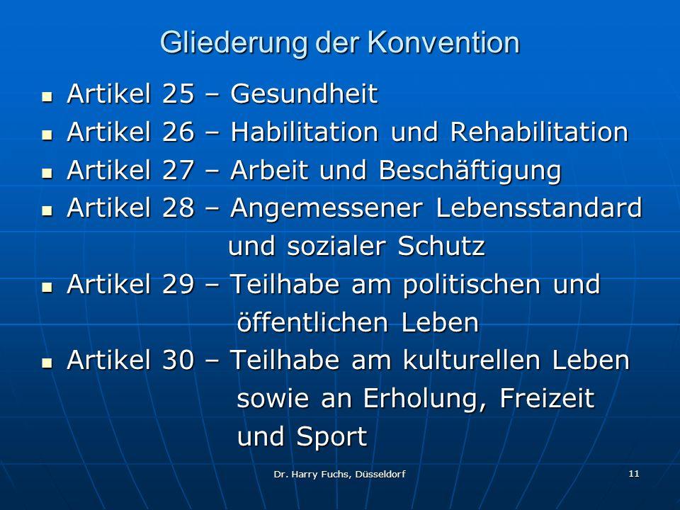 Dr. Harry Fuchs, Düsseldorf 11 Gliederung der Konvention Artikel 25 – Gesundheit Artikel 25 – Gesundheit Artikel 26 – Habilitation und Rehabilitation