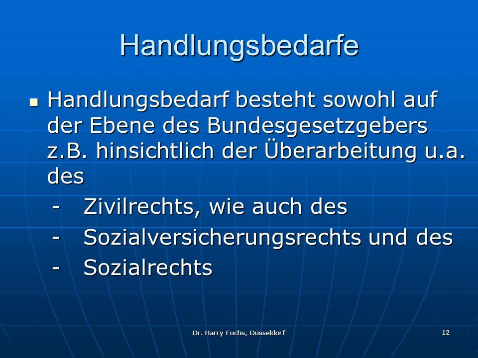 Dr. Harry Fuchs, Düsseldorf 12 Handlungsbedarfe Handlungsbedarf besteht sowohl auf der Ebene des Bundesgesetzgebers z.B. hinsichtlich der Überarbeitun