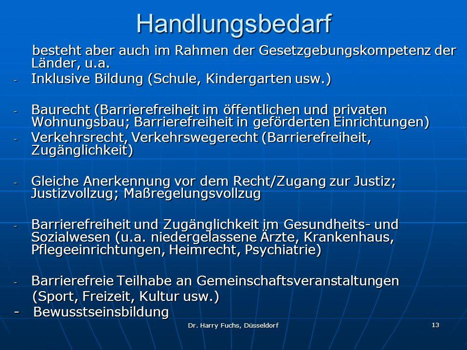 Dr. Harry Fuchs, Düsseldorf 13 Handlungsbedarf besteht aber auch im Rahmen der Gesetzgebungskompetenz der Länder, u.a. besteht aber auch im Rahmen der