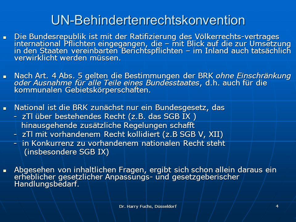 Dr. Harry Fuchs, Düsseldorf 4 UN-Behindertenrechtskonvention Die Bundesrepublik ist mit der Ratifizierung des Völkerrechts-vertrages international Pfl