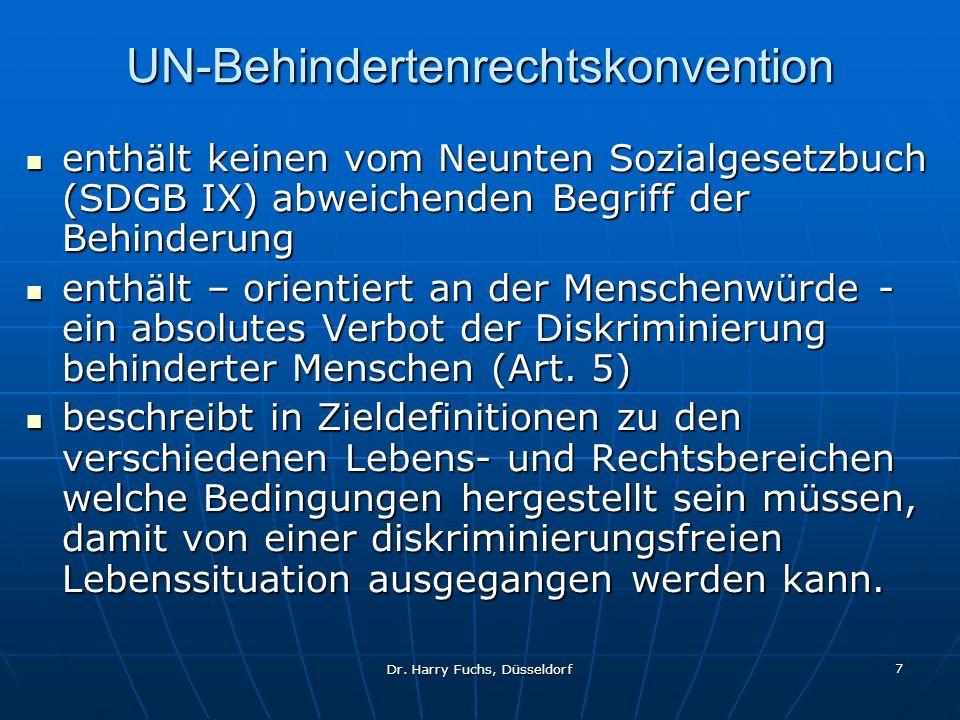 Dr. Harry Fuchs, Düsseldorf 7 UN-Behindertenrechtskonvention enthält keinen vom Neunten Sozialgesetzbuch (SDGB IX) abweichenden Begriff der Behinderun