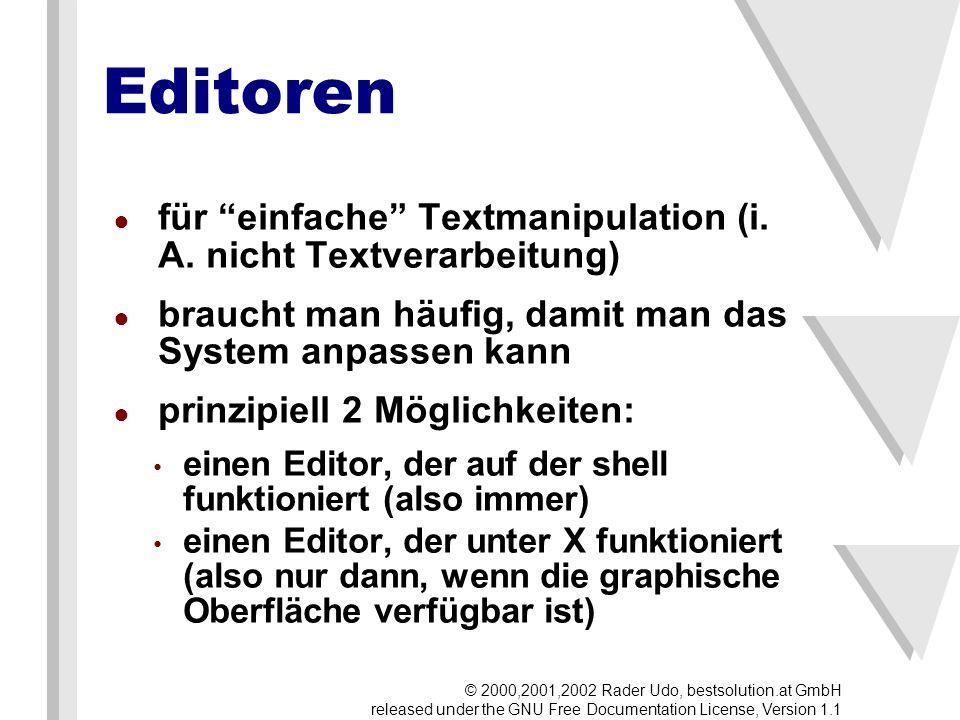 Editoren für einfache Textmanipulation (i. A.
